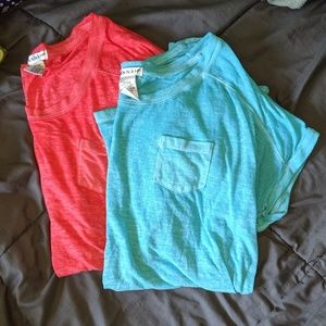 Lot of 2 Hannah burnout tee neon s blue red top